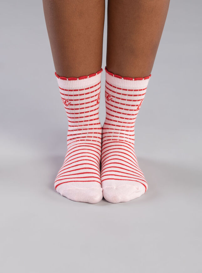 2 Pack Love stripe ankle sock