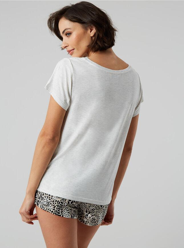 Leopard and giraffe tee and shorts pyjama set