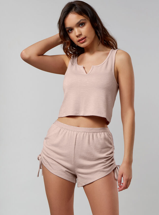 Lounge tank top and ruched shorts set