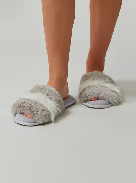 Fluffy stripe fur slippers