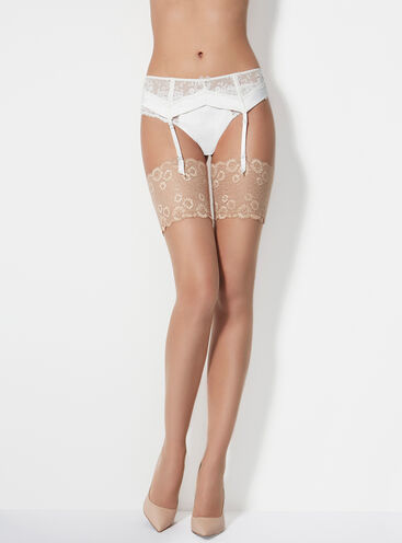 Lace top 15 denier glossy stockings