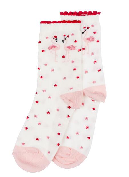 Flamingo socks in a bag