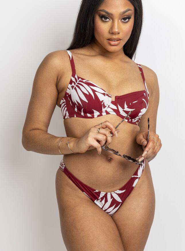 Larissa rust palm balconette bikini top