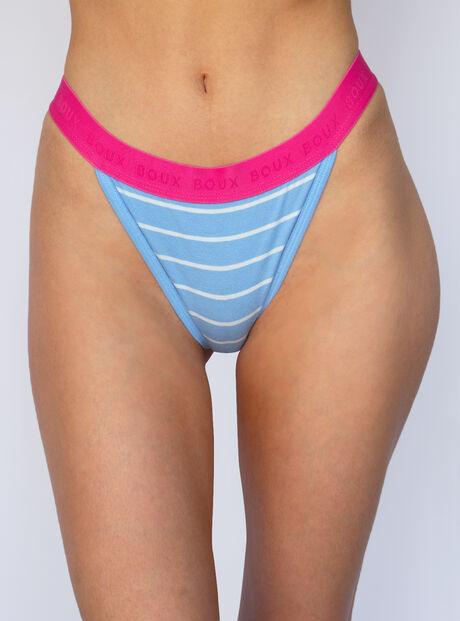 Stripe high leg cotton boxer thong