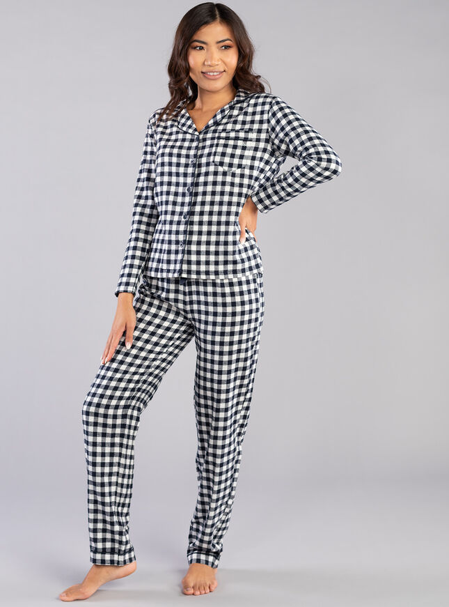 Navy gingham PJs in a bag