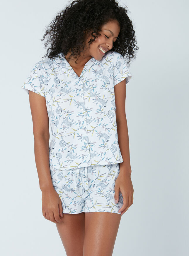 Sloth print pyjama set