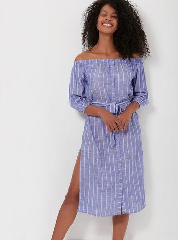 Stripe bardot beach dress
