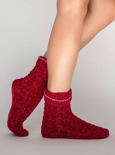 Velvet fleece cable socks