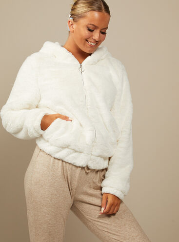 Cosy fur zip hoodie