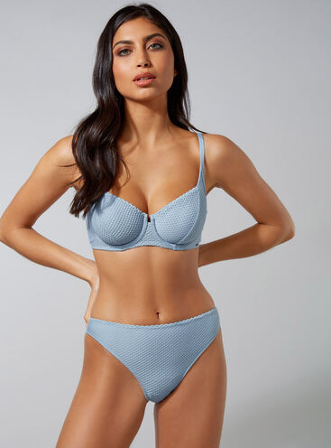 Moulin textured balconette bikini set