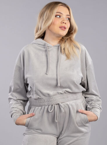 Ribbed velour hoody