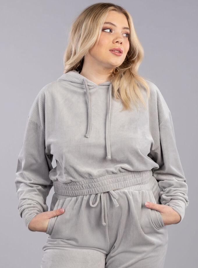 Ribbed velour hoodie