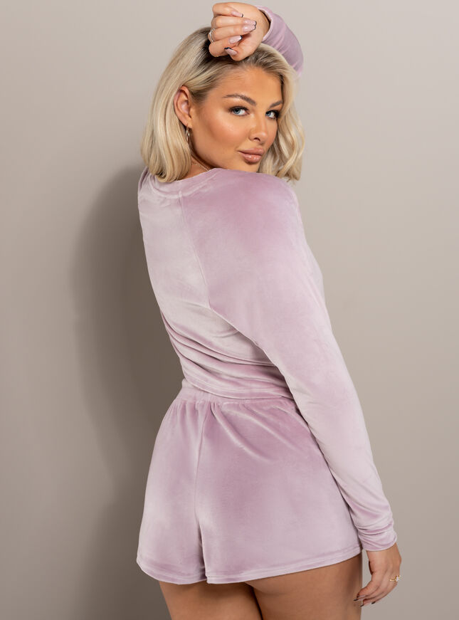 Velour lounge ruched top
