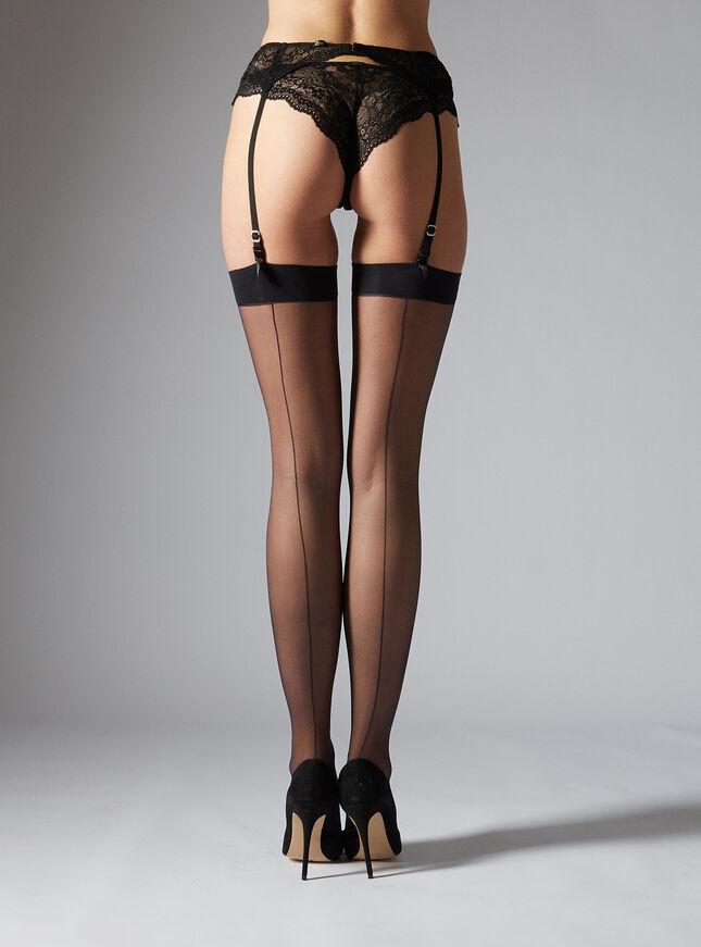 Cuban heel plain top stockings