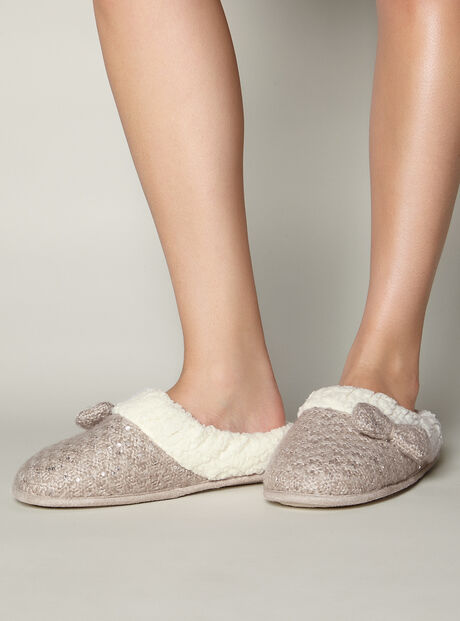 Knitted sequin mules