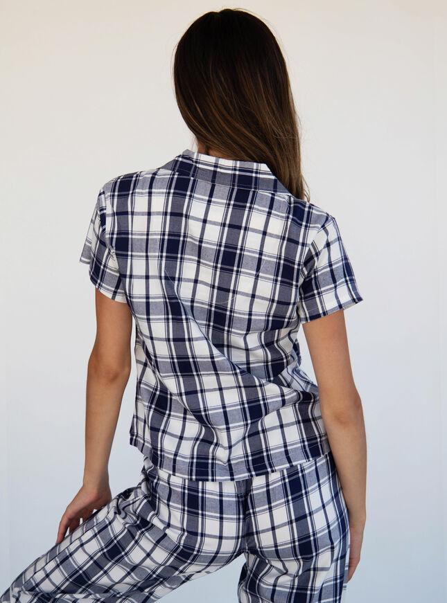 Mono check pyjama top