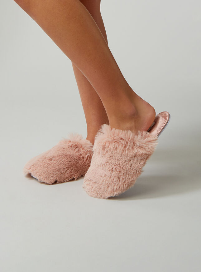 Quilted satin fluffy slippers
