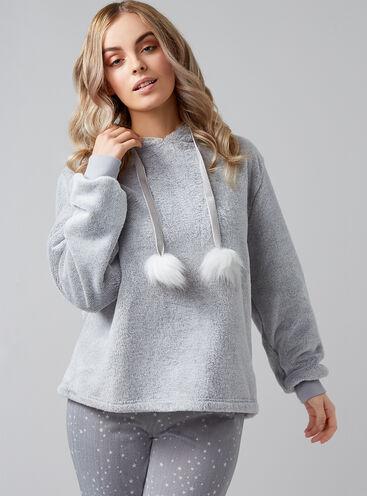 Pom pom fleece hoody