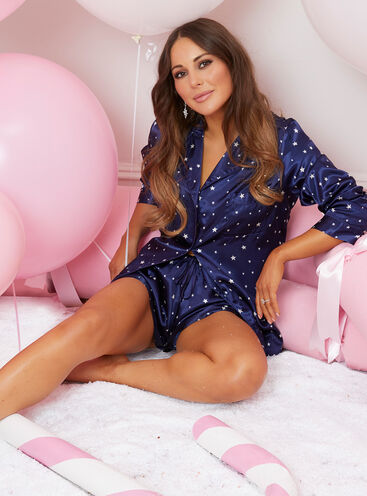 Star print short satin pyjama set