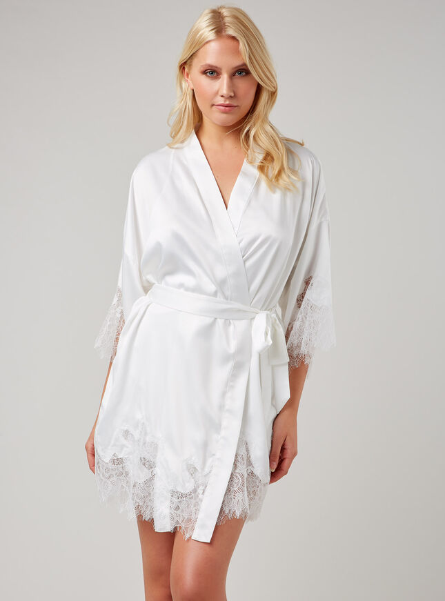 Satin and lace robe