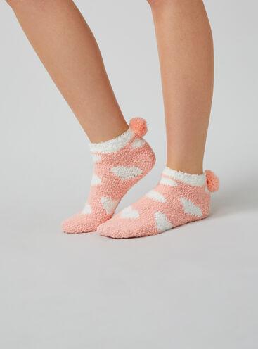 Heart pom pom socks