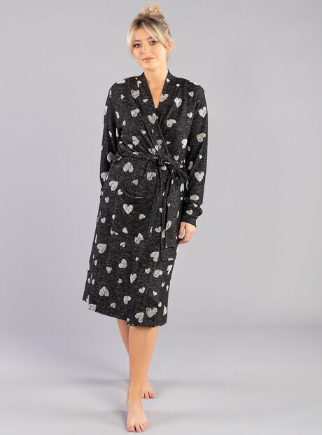 Heart flock print dressing gown