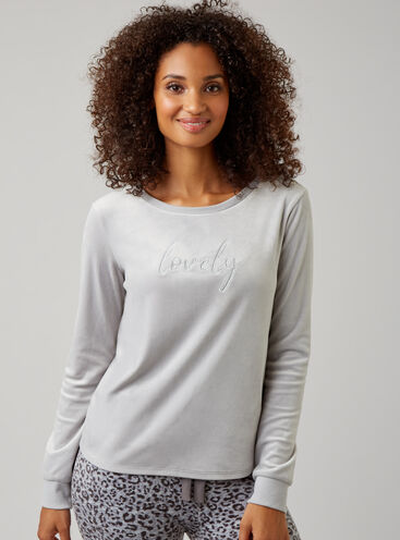 Slogan split back velour top