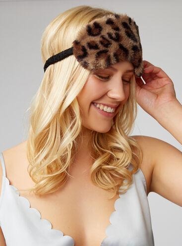 Leopard faux fur eye mask
