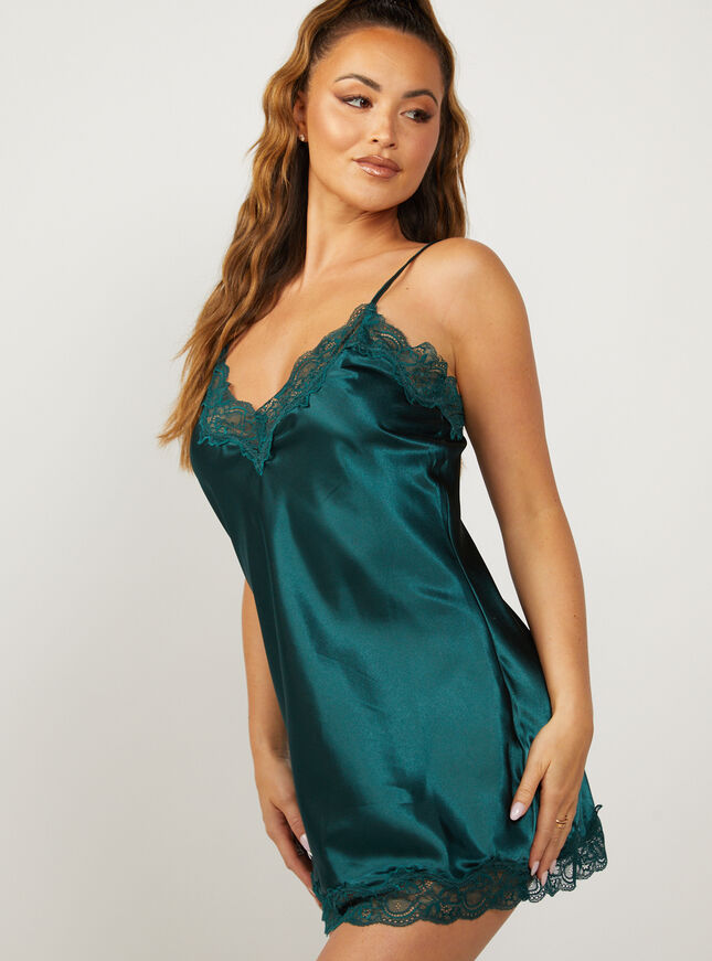 Marnie satin and lace chemise