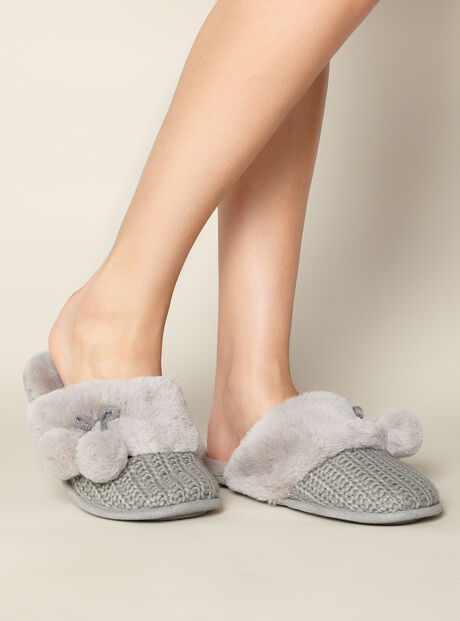 Knitted pom pom mules
