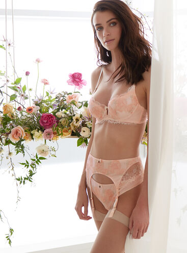 Dark rose embroidered balconette bra