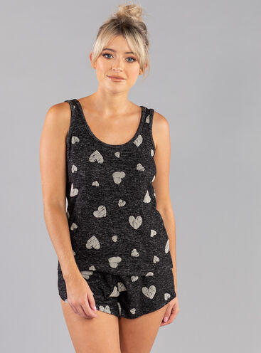 Heart flock print vest & short