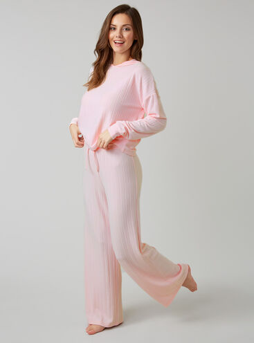 Ribbed hoody and wide pants set
