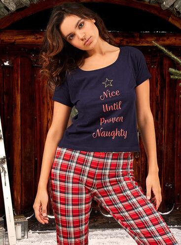 """Nice until proven naughty"" pyjama gift set"