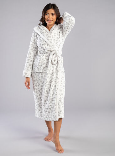 Snow leopard waffle dressing gown