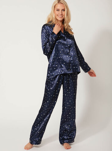 Star print long satin pyjama set