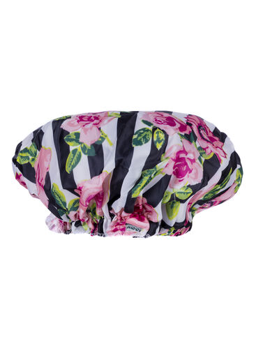 Floral stripe shower cap