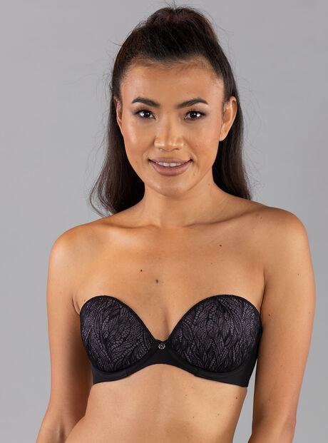 Lace plunge strapless bra