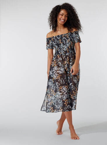Midnight floral bardot beach dress