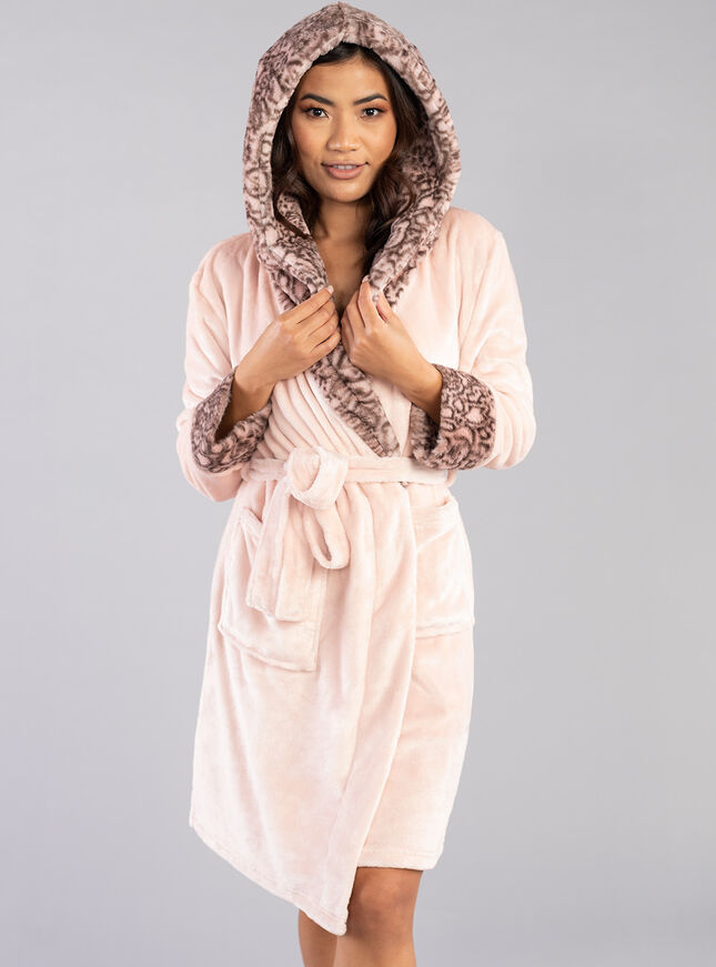 Snake fur hooded dressing gown