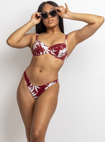 Larissa rust palm balconette bikini set