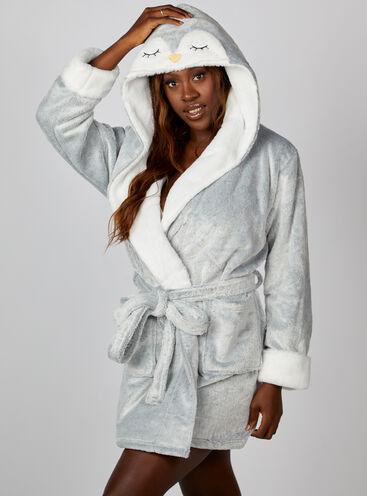 Penguin hooded short dressing gown
