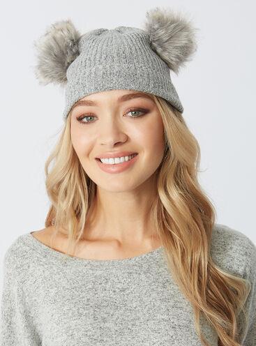 Double pom pom bobble hat