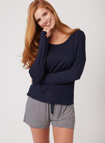 Top and stripe shorts pyjama set