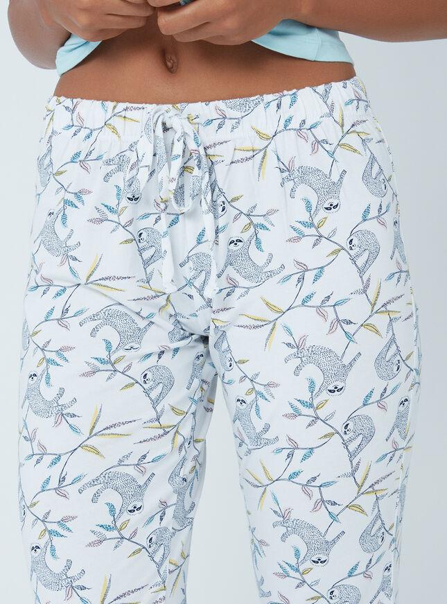 Embroidered sloth pyjama set