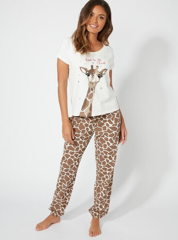 """Head in the clouds"" giraffe long pyjama set"