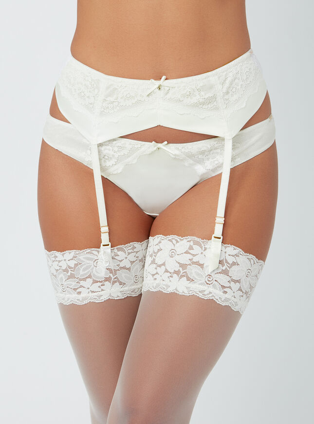 Esther satin suspender belt