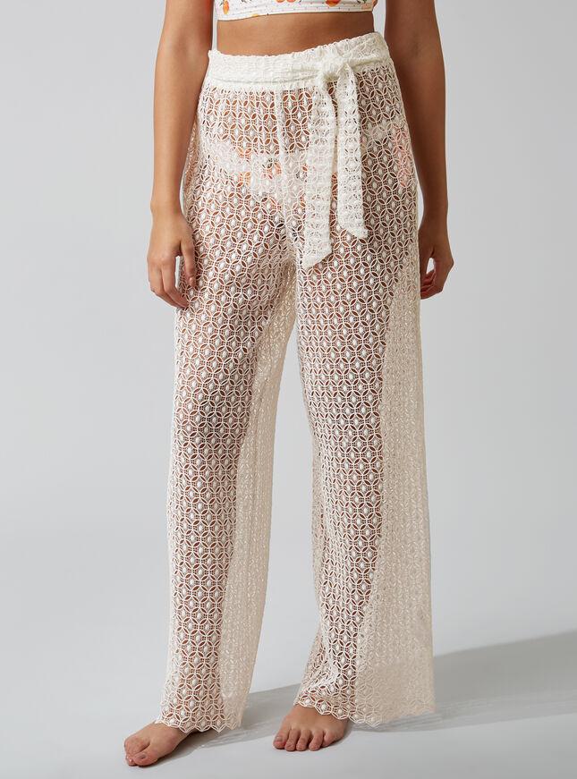 Crochet lace beach trousers