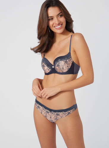Pansy embroidered balconette set