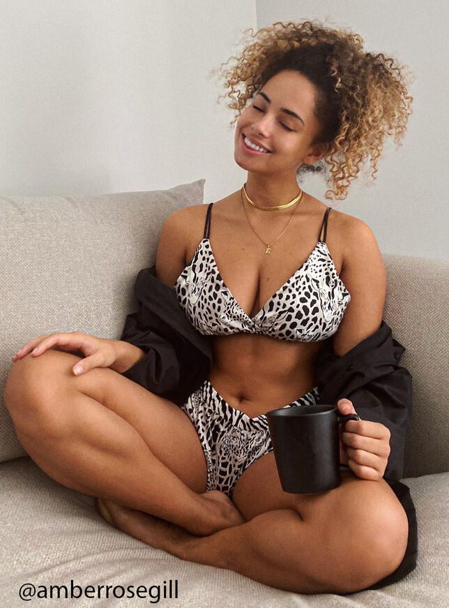 Leopard and giraffe print bralette set